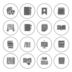 library books icons set - education sign & symbols - learning icons