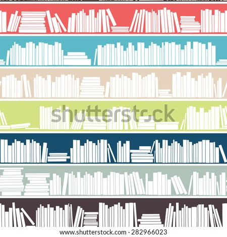 Library, bookstore - Seamless pattern with books on bookshelves.