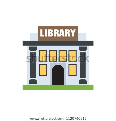 Library building flat design