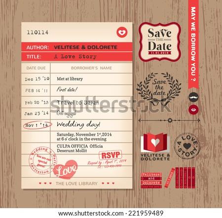Library card creative Wedding Invitation design background