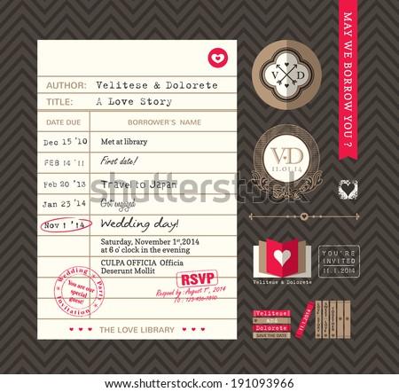 Library card Idea Wedding Invitation design