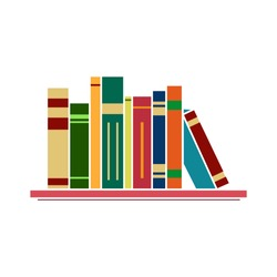 library flat icon - notebook sign - bookstore illustration - bookcase illustration. education isolated