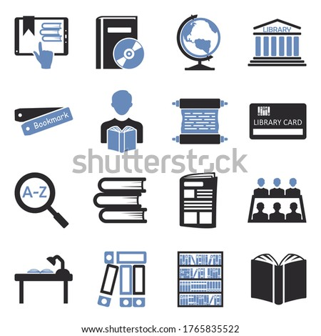 library icons two tone flat