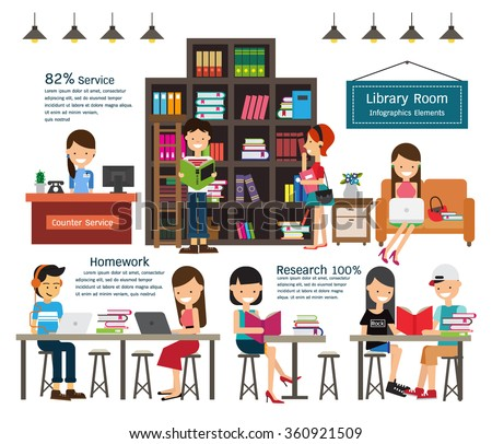 Library infographics element. Vector illustration
