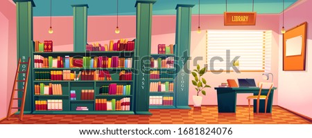 Library with books on shelves and laptop on table. Vector cartoon illustration of school, university or public library or store with bookcase, ladder, desk for study and chair
