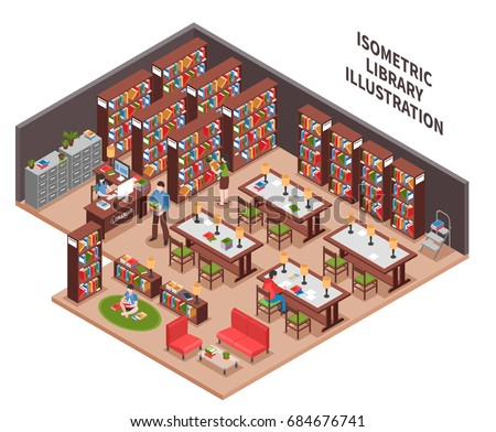 Library with woman employee at workplace with computer bookcases filing cabinet visitors reading area isometric vector illustration