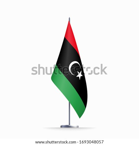 Libya flag state symbol isolated on background national banner. Greeting card National Independence Day of the State of Libya. Illustration banner with realistic state flag. Stockfoto ©