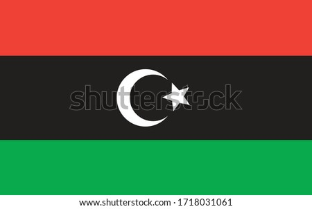 Libya flag vector graphic. Rectangle Libyan flag illustration. Libya country flag is a symbol of freedom, patriotism and independence. Stockfoto ©