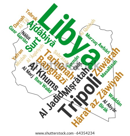 Libya map and words cloud with larger cities