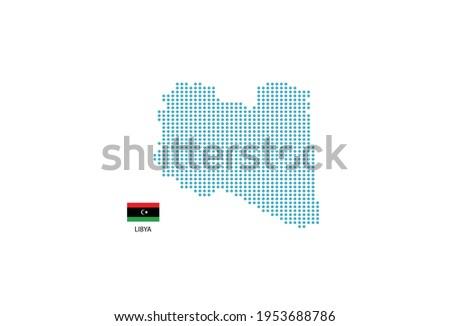 Libya map design blue circle, white background with Libya flag. Stockfoto ©