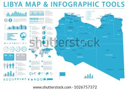 Libya Map - Detailed Info Graphic Vector Illustration #1026757372