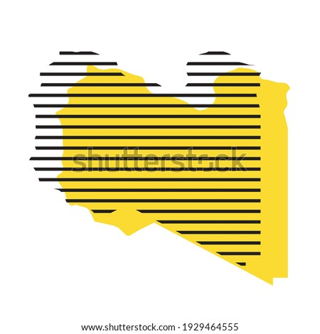 Libya - yellow country silhouette with shifted black stripes. Memphis Milano style design. Slimple flat vector map. Stockfoto ©