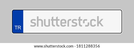 Licence plate of Turkey. Vehicle registration plates frame vector isolated. Turkish car number plate template.