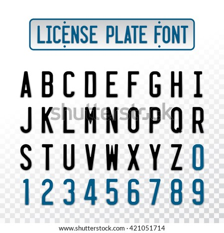 License plate font letters with emboss transparent overlay effect. Car number design alphabet.