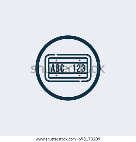 License plate icon - Vector illustration