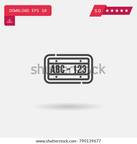License plate vector icon. Emblem isolated on white background. Modern simple icon style for graphic and web design, logo. EPS10