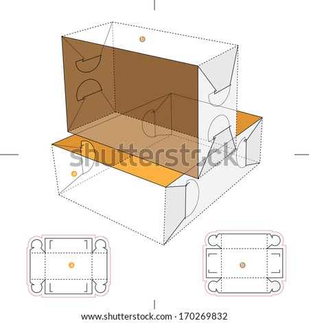 Lid and Tray Box with Blueprint Layout