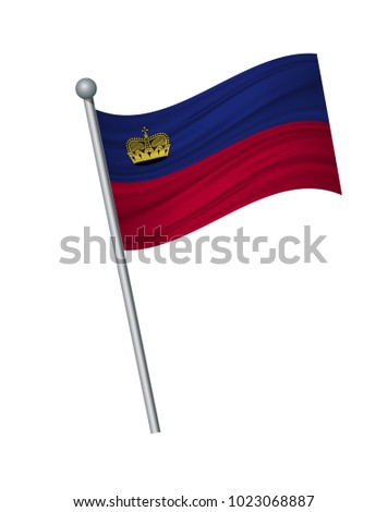 Liechtenstein flag on the flagpole. Official colors and proportion correctly. waving of Liechtenstein flag on flagpole, vector illustration isolate on white background.