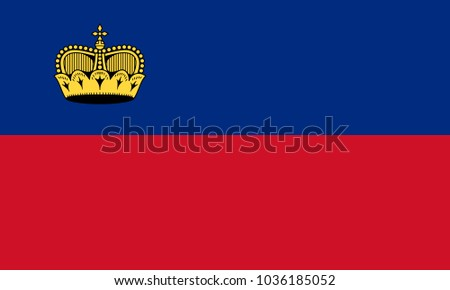 Liechtenstein flag with official colors and the aspect ratio of 3:5. Flat vector illustration.