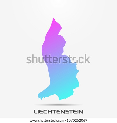 Liechtenstein map,border with pink and turquoise gradient. Vector illustration