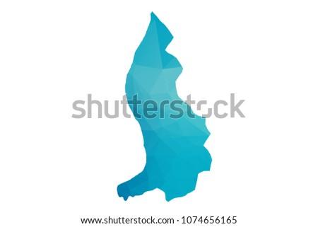 Liechtenstein map vector illustration in polygonal style,Low poly design on white background