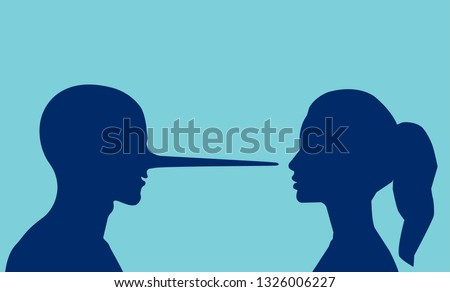 Lies in a relationship concept. Vector of a woman looking at a lying man with a long nose.