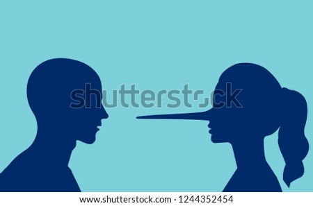 Lies in the couple. Vector of a man looking at a lying girl with a long nose.