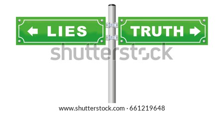 lies truth road sign  which is