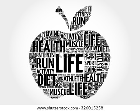 life apple word cloud concept