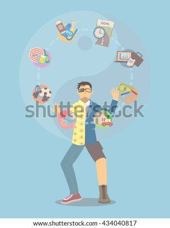 life balance juggling man in