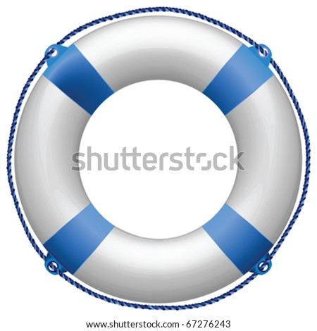 life buoy blue against white background, abstract vector art illustration