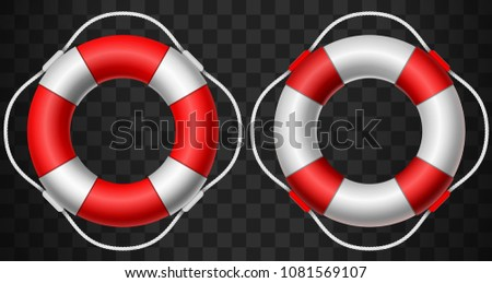 Life buoy icon red and white on dark background