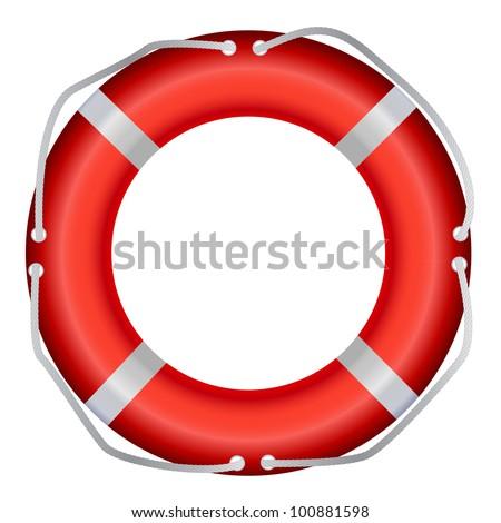 Life Buoy, Isolated On White Background, Vector Illustration