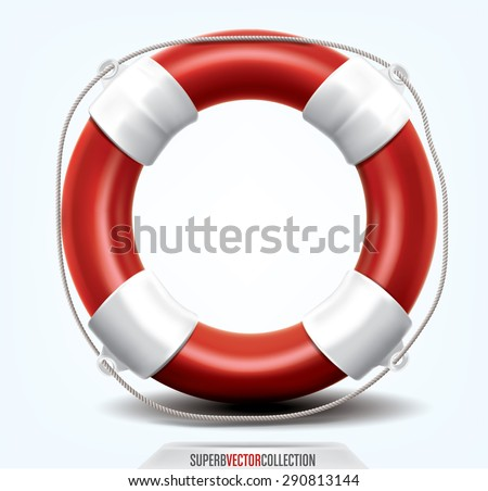 Life buoy isolated on white. High quality, detailed vector illustration ストックフォト ©