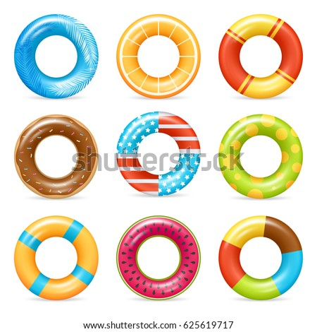 Life buoy swimming rings colorful realistic icons collection with american flag and chocolate doughnut isolated vector illustration  ストックフォト ©