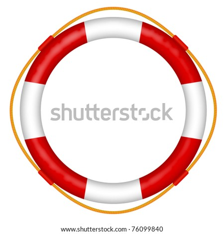 life buoy with rope - red and white lifebelt - sos help icon vector illustration