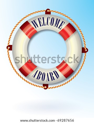 Life buoy with Welcome aboard text