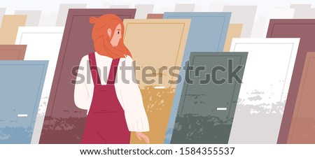 Life choices concept flat vector illustration. Woman cartoon character standing in front of multiple colorful doors. Finding right way, choosing path. Psychological choice. Right and wrong decisions.