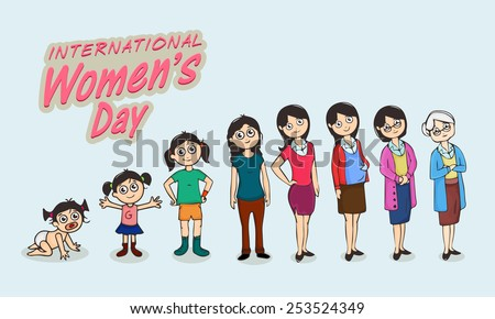 Life circle of a women, various stages from kid to old, dedicated to International Women\'s Day celebrations.