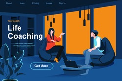 Life coaching isometric landing page. Personal consultation with coach in office website template. Education and life skills development, motivation and mentoring perspective flat vector illustration.
