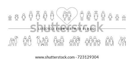 Life cycle and aging process. Vector icon set, People growing up from baby to old age.