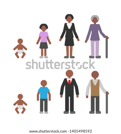 Life cycle of african american woman and man, pictogram set. Female and male human at different age, people flat icons. Baby, teenager, adult, old person. Simple vector concept of aging and growing.