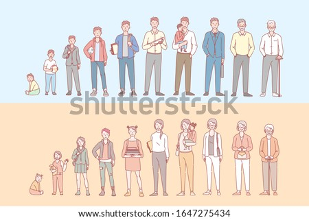 Life cycle of humans set concept. Collection of men and womens stage of life, growing up and aging. Male and female of different ages in cartoon style illustration. Simple flat vector Сток-фото ©