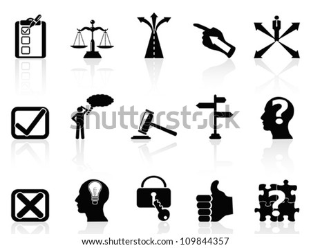 life decisions icons set