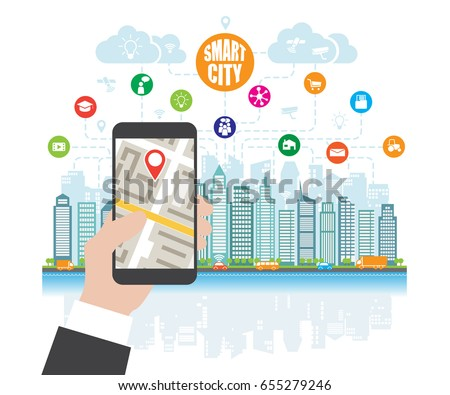Life in a smart city, smart phone with navigation in the hand, define location. Background, place for text