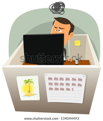 Life In The Cube/ Illustration of a cartoon office employee man lifestyle, working frustrated in a boring job in slump time and inside small confined open space cube setting