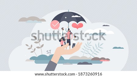 Life insurance as healthcare protection and family safety tiny person concept. Future financial support in case of accident or illness vector illustration. Umbrella as risk assistance and guard symbol