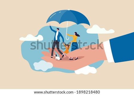 Life insurance, family protection to assure members will be financially supported and risk cover concept, lovely family with husband, wife and kids in supporting hand with umbrella cover protection.