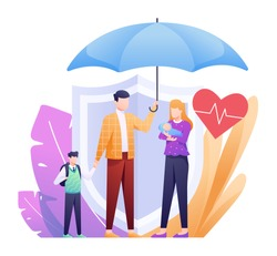 Life Insurance Illustration with Family under Umbrella and Backup Shield as Concept. This illustration can be use for website, landing page, web, app, and banner.