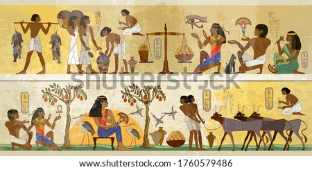 Life of egyptians. History art. Agriculture, fishery, farm. Ancient Egypt frescoes. Old tradition, religion and culture. Hieroglyphic carvings on exterior walls of an old temple Stock photo ©